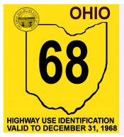 1968 Ohio Rgistration Validation sticker