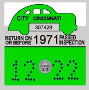 1971 Ohio Cincinatti inspection sticker