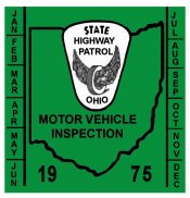 1975 Ohio INSPECTION Sticker