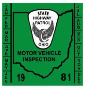 1981 Ohio INSPECTION Sticker