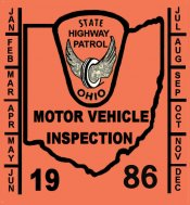 1986 Ohio inspection sticker