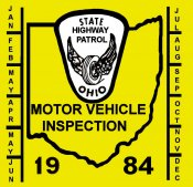 1984 Ohio Inspection Sticker