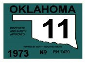 1973-11 Oklahoma Inspection Sticker