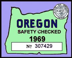 1969 Oregon Safety Check Inspection