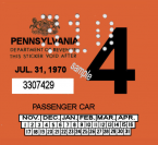 1970-4 PA inspection sticker