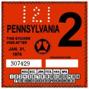 1974-2 Pennsylvania Inspection Sticker