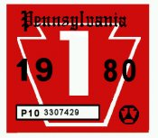 1980-1 Pennsylvania INSPECTION Sticker