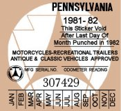 1981-82 Pennsylvania Inspection Sticker CLASSIC