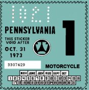 Pennsylvania 1973 Motorcycle inspection
