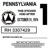 Pennsylvania 1974 Cycle Inspection sticker