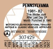 Pennsylvania 1981 Cycle Inspection sticker