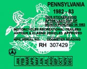 Pennsylvania 1982 Cycle inspection sticker
