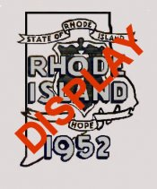 1952 Rhode Island REGISTRATION Sticker