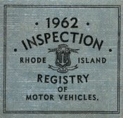 1962 Rhode Island Inspection Sticker