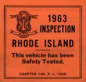 1963 Rhode Island Inspection Sticker