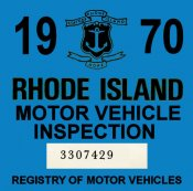 1970 Rhode Island Inspection sticker