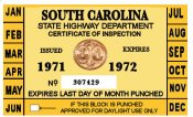 1971-72 South Carolina INSPECTION Sticker