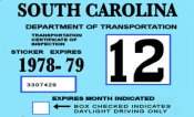 1978-79 South Carolina INSPECTION Sticker