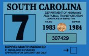 1983-84 South Carolina INSPECTION Sticker