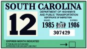 1985-86 South Carolina Inspection Sticker