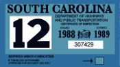 1988-89 South Carolina inspection sticker