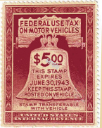 1943 US Federal gas ration stamp