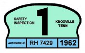 1962 Tennessee Inspection sticker (Knoxville)