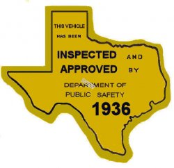 1936 Tesas Safety Lane Inspection sticker