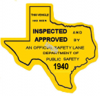 1940 Texas afety Lane Inspection Stickers