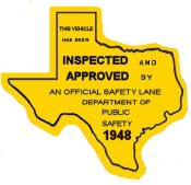1948 Texas Safety Lane Inspection Sticker