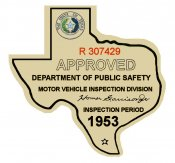 1953 Texas Inspection Sticker