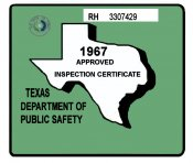 1967 Texas Inspection Sticker