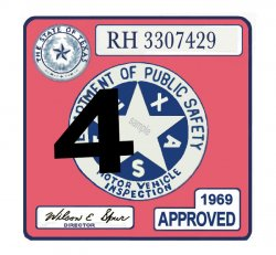 1969 Texas Inspection Sticker