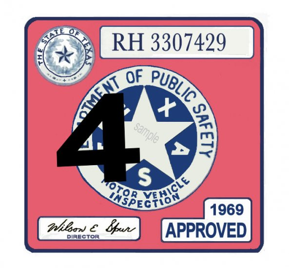 1969 Texas Inspection Sticker - Click Image to Close