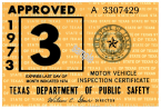 1973 Texas Inspection Sticker