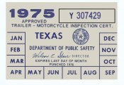 Texas 1975 Cycle Inspection Sticker