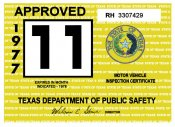 1977 Texas Inspection Sticker