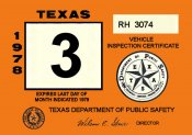 1978 Texas INSPECTION Sticker