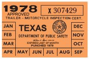Texas 1978 Cycle Inspection Sticker