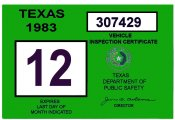 1983 Texas Inspection Sticker