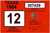 1984 Texas INSPECTION Sticker