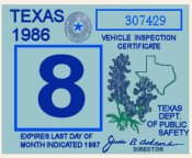 1986 Texas Inspection Sticker