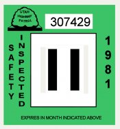 1981 Utah Inspection Sticker