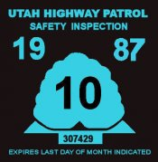 1987 Utah inspection sticker