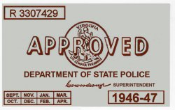 1946-47 Virginia INSPECTION STICKER