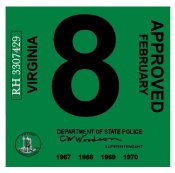 1967-70 Virginia INSPECTION Sticker