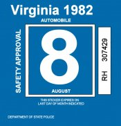 1982 Virginia Inspection Sticker