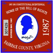 1987 VA Fairfax centennial sticker