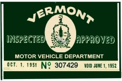 1951 Vermont Inspection Sticker