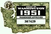 1951 Washington State inspection/registration sticker